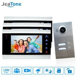 Jeatone  2 Apartments  7 Inch Video  Doorbell Intercom  System Unlock Function