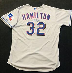 Retro Texas Rangers Team MLB Majestic Jersey  Hamilton Autograph Signed #32