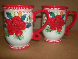 Pioneer Woman x2 ROSY TOILE RED FLORAL 14oz Christmas Mugs