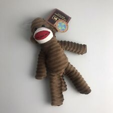"Sock Monkey Squeaky Squeaker Plush Dog Toy Brown Boy Girl Puppy 9"" NEW"