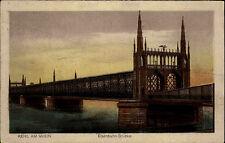 Kehl am Rhein Color Postkarte ~1920/30 Blick auf die Eisenbahn Brücke ungelaufen