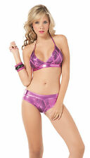 2075 Gogo Rave Purple Magneta Black Bikini Exotic Dance Club-wear S M L