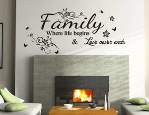 Family Love Wall Art Quotes Vinyl Wall Sticker, DIY Home Wall Decal High Quality