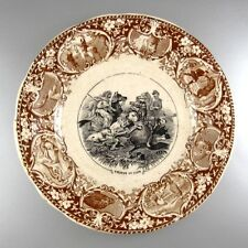 """Antique French Sarreguemines Porcelain Plate, """"Chasse"""", Lion Hunting in Africa"""
