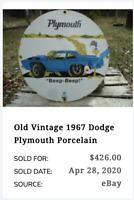 """VINTAGE 1967 PLYMOUTH ROAD RUNNER 11 3/4"""" PORCELAIN METAL CAR GASOLINE OIL SIGN!"""