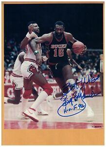 "Bob Lanier Autographed Milwaukee Bucks 8x10 Photo SIGNED ""BIG"" HOF 92"