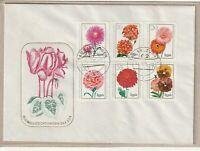 """Ersttagsbrief - """"Blumenzüchtungen der DDR"""" mit Marken und Stempel 1975"""