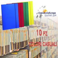 10 pz CARTELLINE PORTADOCUMENTI CON ELASTICO COLORI ASSORTITI FORMATO 32x24 cm