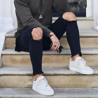 Mens Ripped Jeans Destroyed Denim Plain Pants Gym Jogger Trousers Frayed Casual