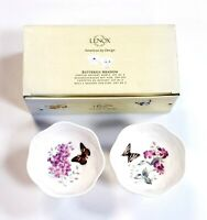 "Lenox Butterfly Meadow 4.25"" Footed Dessert Bowls Set of 2 Butterflies Flowers"