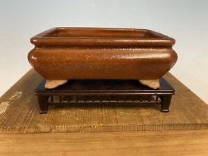 "Bag Style Orange Glazed Shohin Size Bonsai Tree Pot Tosui Kiln 5 1/2"""