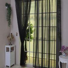 Door Window Bedroom Blinds Curtain Decoration Sheer Scarf Valances Drape Panel Black