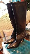 Jimmy Choo (London) Pointy Toe Knee High Black Leather Boots Size 37.5 US 6.5