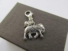 Tibetan Silver Lucky Elephant & Heart Bracelet Clip on Charm - Perfect Box Gift