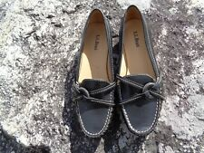 Womens LL Bean Black Leather Loafers Shoes SIZE 7B