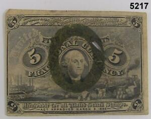 1863 SECOND ISSUE 5 CENT FRACTIONAL POSTAL CURRENCY FR1232 WASHINGTON XF #5217
