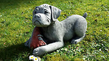 BOXER PUPPY DOG Hand Cast Stone Garden Ornament Statue Sculpture ⧫onefold-uk