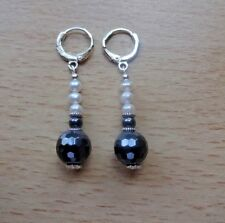 Lovely   HEMATITE/ FRESHWATER PEARL EAR RINGS Sterling Silver Gift  wrapped