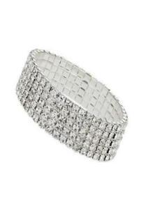HOT 5 Row Rhinestone Silver Stretch Bracelet One Size Wedding Gift Christmas