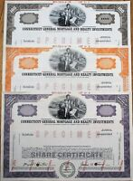 Connecticut General Mortgage & Realty SPECIMEN Stock Certificates- 3 DIFFERENT-B