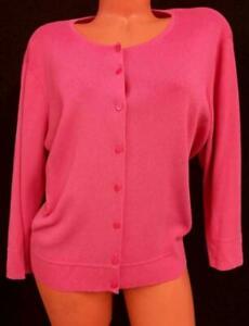 Talbots pink elbow sleeve spandex stretch knit cardigan sweater top petite 1X