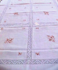 Vintage Tablecloth Linen 86 x 60 Off White with Variegated Brown Hand Embroidery