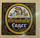 VINTAGE BRITISH BEER LABEL - GRUNHALLE LAGER 275ML 9.68 FL OZ