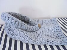 Hooded Scarf Hat Soft Wool Gray Chunky Cable Knit Decorative Button Handmade