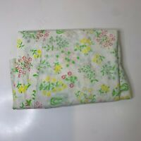 Vintage Sears Flat Sheet White with floral print pink yellow twin size perma