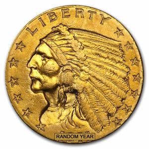 $2.50 Indian Gold Quarter Eagle (Cleaned) - SKU #23228