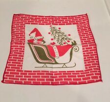 Tammis Keefe Christmas Cocktail Napkin Santa Claus Sleigh Signed Vintage