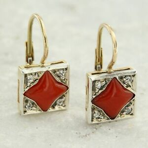 14 k ct kt Solid Yellow GOLD Natural Real Red CORAL and DIAMOND Drop Earrings
