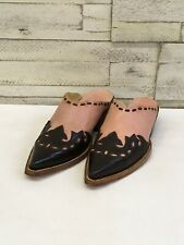 Women's Corral Slide-Pink W/Brown Wing Tip & Leather Sole Sz 7