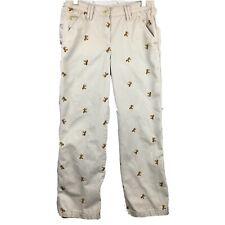 LLBean girls twill pants horse embroidery 12 light khaki