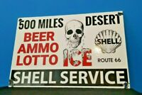VINTAGE SHELL GASOLINE PORCELAIN DESERT STORE GAS STATION PUMP SKULL SIGN