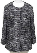 CHANEL Tweed Jacket Blazer Collarless Gripoix Jewel Buttons Long Sleeve 48 2012