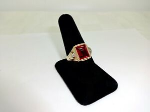 MENS ART DECO 10K SOLID GOLD 4.5 CT. RUBY & DIAMOND ACCENT RING,10 3/4,NICE