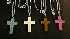 """Silver Plated 16"""" Necklaces - Nwot (#1156) Lot of 4 Natural Stone Cross Pendant"""