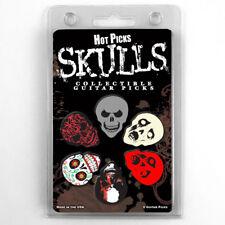 "Hot Picks ""SKULLS"" Guitar Pick Pack, 6 Picks Skulls, Heavy, Clamshell Pics"