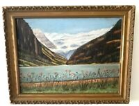 Oil On Canvas Painting Landscape Antique Wood Frame Size 4x11, 9x12 Inches