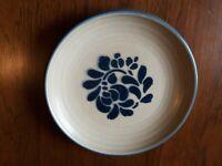 "Vintage Pfaltzgraff Folk Art 7"" Salad Plate EUC Tan with Blue Floral"