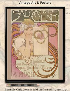 11x14 inch Vintage Art Nouveau Poster Print Alphonse Mucha Salon des Cent 1897