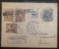1926 Warsaw Poland Airmail Cover to Lwow Airmail Stamps Lotnicza 50gr
