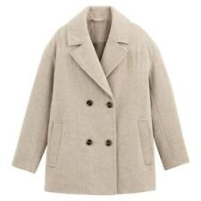 La Redoute Wool Tweed Pea Coat Cream Houndstooth Size 18 Double Breasted RRP £95