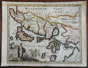 Epirus & Canina Ottoman Greece Corfu 1697 Cluverius map decorative cartouche
