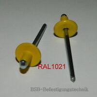 Großkopf Blindnieten  4,0x6 Kopf 12mm ALU//Stahl  4x6mm 50 Stk