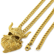 """Mens Gold Tone Stainless Steel Viking Skull Pendant 4mm 24"""" Cuban Necklace Chain"""