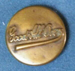 Bb  Good All Over Antique Brass OVERALL BUTTON Wobble shank