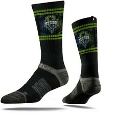 SEATTLE SOUNDERS FC MLS PREMIUM OFFICIALLY LICENSED CREW SOCKS - Black ONE SIZE