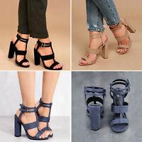 Women Vintage High Block Heel Buckle Sandals Ladies Open Toe Ankle Strappy Shoes